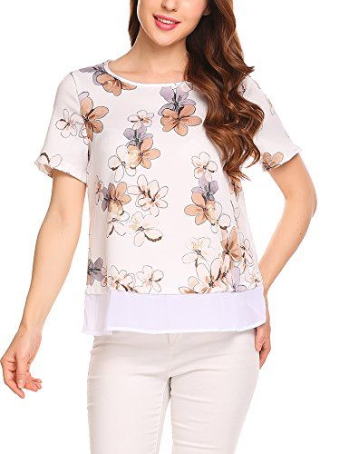 Chiffon Blumenmuster (Parabler Damen Blumenmuster Chiffon Shirt Bluse Tunika Kurzarm Blumendruck Casual Tops Oberteil)