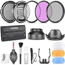 Neewer® - Kit profesional de accesorios de 55mm para cámaras DSLR Sony Alpha A99A65A55A100, incluye kit de filtros, bolsa, parasoles de lente, juego de difusores de flash, tapas para las lentes, correa de tapa, kit de limpieza, paño de limpieza