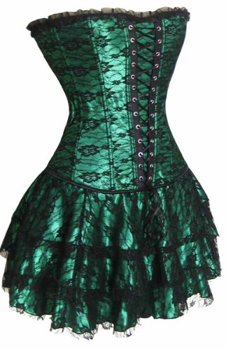 loveorama.de SZIVYSHI Corsage Kleid Mini Rock Petticoat (XL, grün)