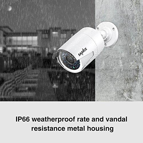 Sannce 960P HD 4CH POE NVR videosorveglianza sistema di sicurezza -1.3 MP Weatherproof IP66 Bullet IP Cameras, Accesso rapido QR Code Smartphone, Uscita HDMI, Backup USB,,Senza HDD Preinstallato!
