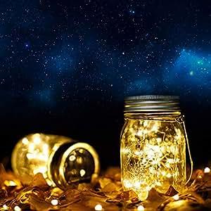 Solar Garden Lights Mason Jars with Lids Insert Outdoor Indoor Lighting Decoration. (2 Pack, Warm White)