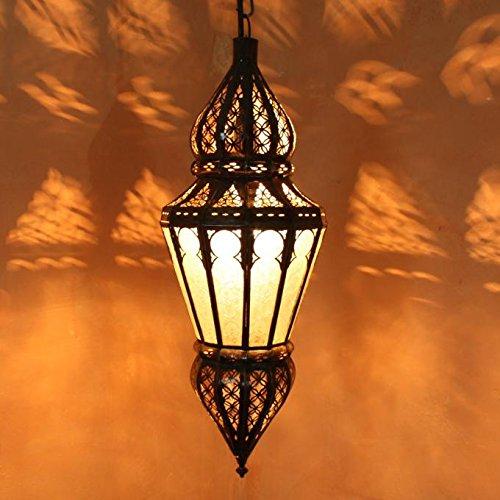 Orientalische Lampe marokkanische Hängelampe Nura Weiß Höhe 54 cm aus Metall & Glas | Kunsthandwerk aus Marokko | L1215