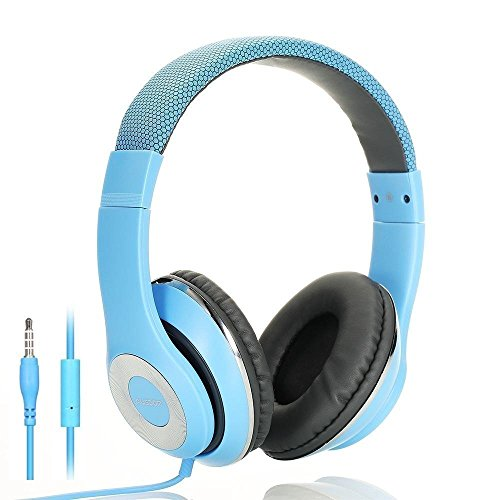 Ausdom f01 leggero cuffie stereo professionali auricolari con microfono 3,5mm iphone ipad ipod tablet android smartphones pc ps4 xbox one nintendo switch massima compatibilità bambino / adulto (blu)