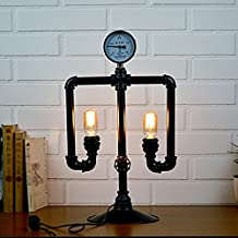 LILY Iluminación decorativa E27 * 2 de la robusteza creativa DIY de la lámpara de tabla del tubo del agua del vapor industrial antiguo europeo del viento