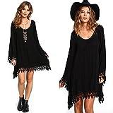 OverDose, Casual femmes noir manches longues Tassels Loose MIni Dress (Taille asiatique:XL)