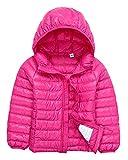 Bambino Giacche Packable di Piuma Leggero Giacca Piumino Giubbotti Inverno Cappotti con Cappuccio Per Ragazzo Ragazza Rose 110