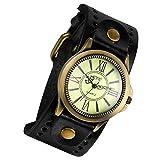 Lancardo Retro Herren Analog Quarz Uhr Armbanduhr Herrenuhr Einzeigeruhr, breit Leder Armband mit römische Ziffern ,schwarz