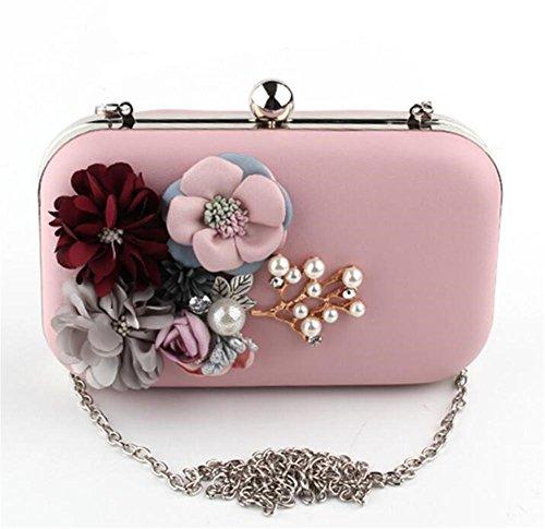 Frauen-Beutel-Kupplungs-Kleid-Abend-Partei-Hochzeits-Blumen-PU-Schulter-Handtasche pink