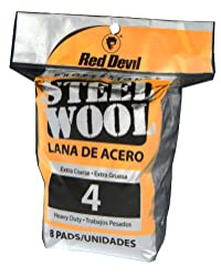 Red Devil 0327 Steel Wool, 4 Extra Coarse, 8 Pads