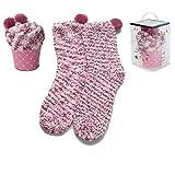 JARSEEN 2 Geschenk-Box Kuschelsocken Super Weiche Bequeme Flauschige Stoppersocken für Damen Mädchen Weihnachtssocken (EU 36-42, 2Rosa)