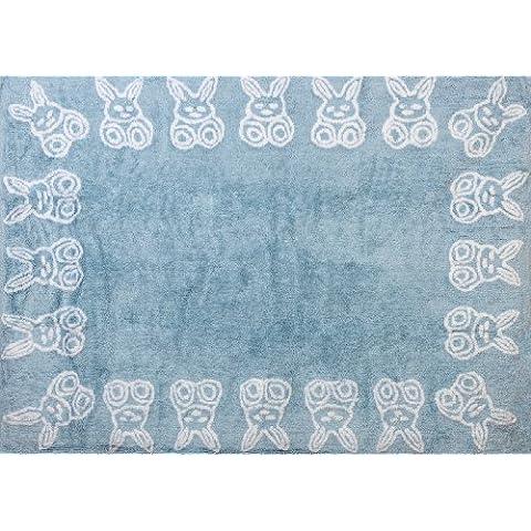 Aratextil. Alfombra Infantil 100% Algodón lavable en lavadora Colección Conejitos Celeste 120x160 cms
