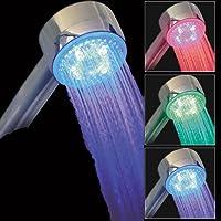 26-004 ***Pommeau LED Douche arrondi*** équipé d'un capteur de température éclairant les filets d'eau de différentes couleurs selon la température de l'eau. Le pommeau de douche est écologique, il est auto alimenté par une turbine interne qui permet à la fois d'économiser de l'eau et de générer l'énergie nécessaire pour allumer les LED qui la composent. NEUF