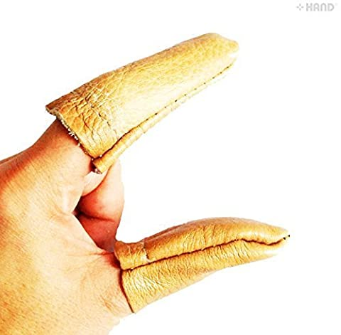 HAND® Real Leather Thick Tough Craft Thumb and Index Finger Thimble/Protector - Buy 1 Pair Get 1 Pair FREE Offer! by HAND