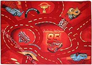 "Children's Character Rug - Disney Cars 'World of Cars - Red' - 095x133cms (3'2"" x 4'4"" Approx) + FREE 3D Stickers - Great Gift Idea For a Child's Bedroom"