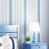 BAIYUYA Moderne Wohnzimmer Schlafzimmer Wanddekoration Tapete Für Kinderzimmer PVC Selbstklebende Aufkleber Blau Weiß Gestreiften Tapeten (B) 130x (H) 80 cm
