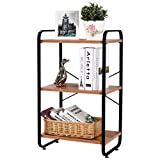 3-wooden-shelf D13'W19H32' Black Steel Storage rack scaffale WJG4882–3BK