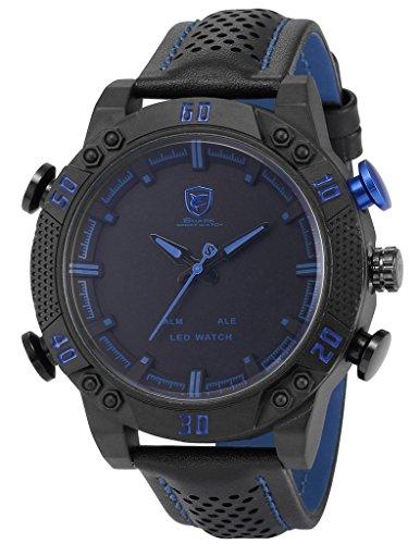 So vedere Sport Mens LED Data Allarme digitale nero Cinturino in pelle analogico al quarzo orologio da polso