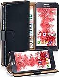 moex Cover a Libretto Compatibile con Samsung Galaxy A3 (2015) | Fessura Carta + Soldi, Supporto, Nero