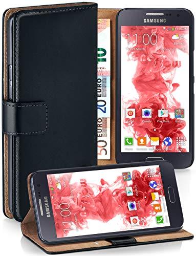 MoEx® Booklet mit Flip Funktion [360 Grad Voll-Schutz] für Samsung Galaxy A3 (2015) | Geldfach und Kartenfach + Stand-Funktion und Magnet-Verschluss, Schwarz