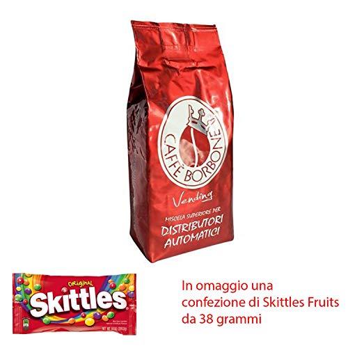 JSD caffè BORBONE GRANI SOTTOVUOTO da 1 kg Miscela Rossa Red Vending Caffe BORBONE + Omaggio Una Confezione di Skittles Fruits da 38 Grammi (12 kg)