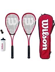 Wilson Hyper Team 500 Squashschlägerset mit Squashbällen und Wasserflasche