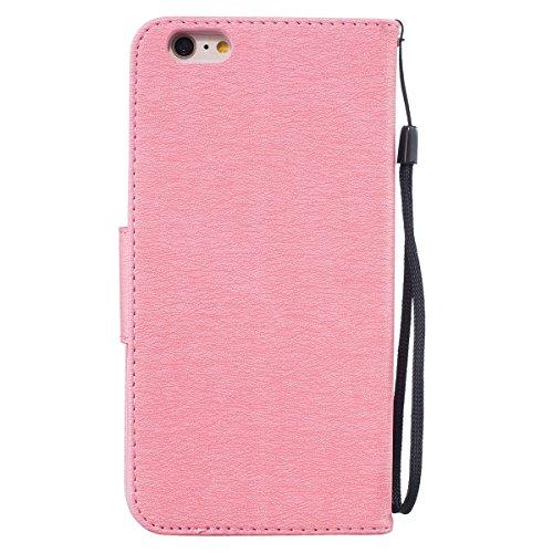 Custodia iPhone 6 Plus, ISAKEN Custodia iPhone 6S Plus, iPhone 6 Plus Flip Cover con Strap, Elegante borsa Tinta Unita Piuma Design in Sintetica Ecopelle PU Pelle Protettiva Portafoglio Case Cover per Piuma: rosa