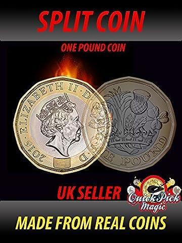 Magischer Spalt Münze - Neu 12 Seitlich Eine Pfund Spalt Münze Nahaufnahme Zaubertrick - Klon Münze - Münze Thru (12 Magische Münze)