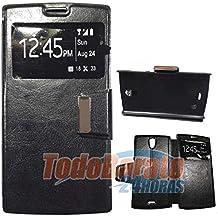 Funda Negra Libro Ventana para Orange Nura / Alcatel One Touch M812