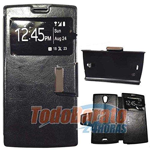 Todobarato24h Funda Negra Libro Ventana para Orange Nura/Alcatel One Touch M812
