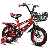 Kinderfahrrader Yhz 2-3-5-6-8 Jahre alt Jungen und Mädchen Kinderwagen 12/14/16/18 Zoll mit Flash-Trainingsrad (Farbe : Red, größe : 16