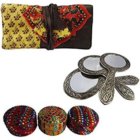decorativi regalo molto per gli accessori di stoccaggio rotolo cassa dei monili delle donne, specchio di metallo tenuto in mano, gioielli articoli da regalo di nozze box set di 3 pezzi