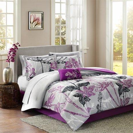 Madison Park Essentials Claremont Komplettes Bettwäsche und Spannbetttuch Set–Violett–Full von Madison Park Essentials