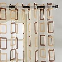 Top Fine cortina transparente de tratamientos para ventana panele con dibujos Cuadrados geometricos, de ojales,140 cm anchura por 245 cm longitud (solo panel,marron)