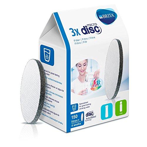 Brita MicroDisc - Filtro de Agua con recambios para 3 Meses de Agua filtrada - 3 Cartuchos
