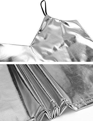 Lomon Tank top Frauen Metallisch Glänzend Spaghettiträger Bauchfrei Top Vest Tops Tanktop Silber