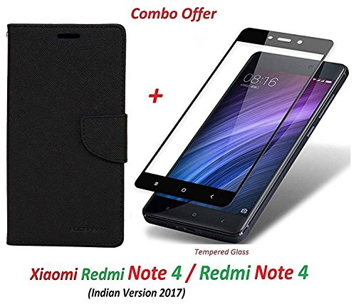 Goelectro Xiaomi Redmi Note 4 / mi redmi note 4 / Redmi Note 4 (COMBO OFFER) Wallet Style Flip Cover Case for Redmi Note 4 ( Black ) + 2.5D curved 3D Edge to Edge Tempered Glass Screen Protector ( Black )