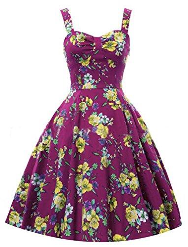 Eyekepper Robe Femme / demoiselle - Robes Vintage imprime robe soiree rose-rouge