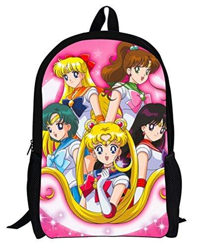 yoyoshome Anime Cosplay Sailor Moon Tsukino Usagi Segeltuch Rucksack Rucksack Schultasche schwarz Sailor Moon8 (Sailor Moon Artemis Kostüm)