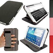 igadgitz Case Cover - Funda para tablet Samsung Galaxy Tab 3 8.0 (soporte de sobremesa, correa de mano), negro