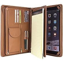 Profesional portadocumentos compacto Litchi grano Funda de piel cartera de organizador para iPad Pro 12,9pulgadas o Micro Surface Pro 3/Pro 4con Junior Legal (A4) papel (Micro Surface Pro 3/Pro 4, Negro), marrón, iPad Pro 12.9 inch
