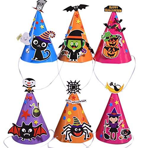 Toymytoy cappelli per feste di halloween - cappellino di carta da parati con cappello di cartone animato modello fai da te, cappello da 8 pezzi