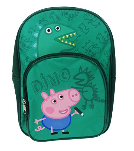 Image of George Pig Dino Arch Backpack With Front Zipped Pocket Green 9 Litres