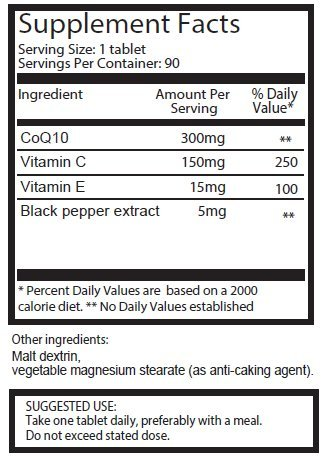 CoQ10 300mg x 180 tablets (2 bottles with 90 tablets each – 6 Months supply) with Vitamin C and black pepper extract. SKU: CQ3x2