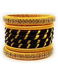 SAI Handmade Silk Thread Bangle Set For Women, Yellow And Brown Color With Stone (Size - 2.8)