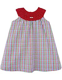 Foque - Vestido para niña de Cuadros Verdes, Rojos y Azules. Cuello de de