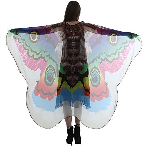 Lazzboy Frauen-Dame-langer Schmetterlings-Flügel-Kap-weicher Schal-Schal-Schal-Nymphen-Kostüm(M,Grün)