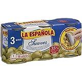 La Española Aceitunas Verdes Rellenas de Anchoa Suaves - Pack de 3 x 120 g - Total: 360 g
