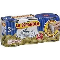 La Española - Aceitunas verdes rellenas de anchoa suaves - 3 x 120 g - [Pack de 4]