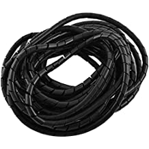 sourcingmap® El polietileno Negro banda de envoltura en espiral del Cable Gestor 8mm de diámetro de 8m largo