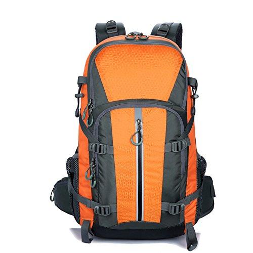 Facecozy Outdoor uomini e donne zaino 40l grande capacità borsa sportiva unisex impermeabile traspirante Colore solido viaggi, campeggio, pesca, zaino, Blue Orange